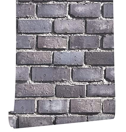 Haokhome 80104 Faux Brick Wallpaper 20 8 X 31ft Rolls Black Grey Dk Blue Textured Wall Decoration