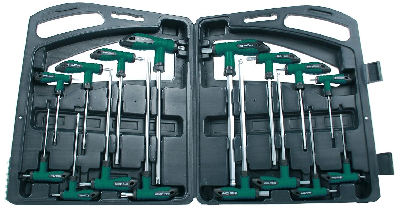 MANNESMANN Coffret de 16 clés allen a poignée en T comprenant 8 clés mâles 6 pans en acier chrome vanadium et 8 clés torx en acier de qualité S2