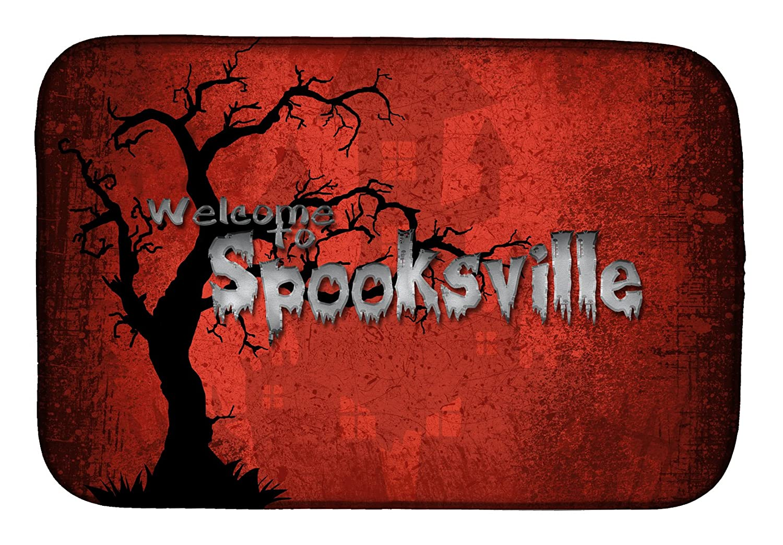 Caroline 's Treasures sb3008ddm Welcome to Spooksvilleハロウィンディッシュ乾燥マット、14