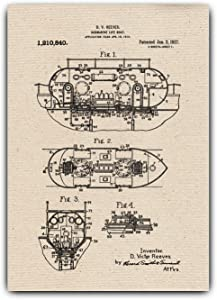 Submarine Life Boat Drawings Patent, Gift Idea - Wall Hanging, Vintage Poster on Canvas, Home Office Decor, Submarine-Life-Boat-001 (A4-8.3 x 11.7 inch)