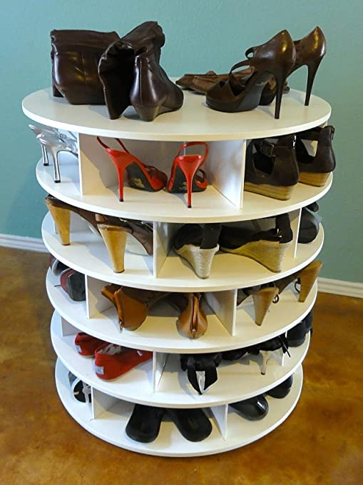 Revolving Shoe Organizer Part - 37: Amazon.com: Lazy Susan ShoeSan | Revolving Shoe Organizer | Revolving Shoe  Rack | Store Up To 60 Pairs Of Shoes!: Home U0026 Kitchen