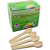 """Gmark Eco-Friendly 250 ct Wooden Spoons, 6.25"""" Length Disposable Biodegradable Wooden Cutlery, Green Product (Box of 250pcs) GM1009"""