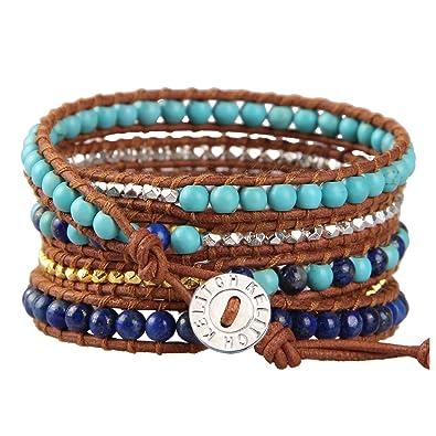 KELITCH Bracelet for Men Women Personalised Turquoise Lapis Lazuli Nugget Bead Handmade 5 Wrap Bracelet on Brown Leather xJrzfj