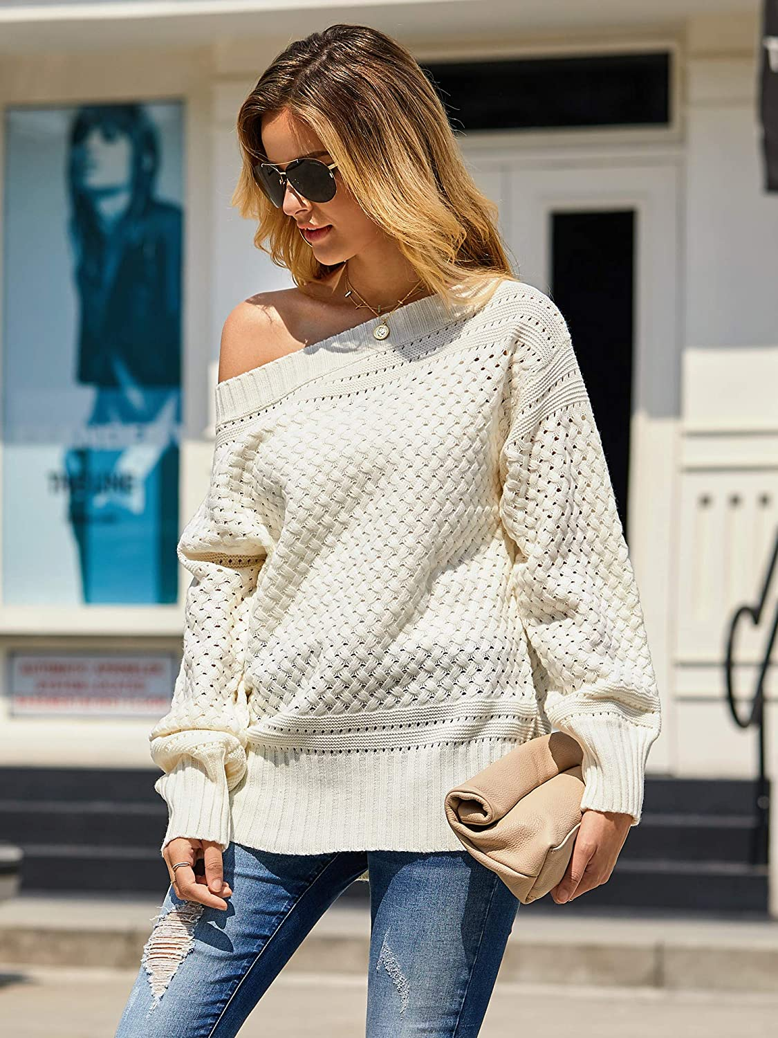 Soulomelody Womens Off Shoulder Pullover Long Sleeve Oversized Chunky Pointelle Fall Knit Tunic Sweater
