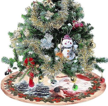 JTWEB 120cm Tapis Sapin de Noël Broderie, Jupe Arbre de Noël