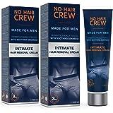 NO HAIR CREW Crema Depilatoria Íntima Premium - Extra Suave Hecha Para Hombres, 100 ml: Amazon.es: Salud y cuidado personal