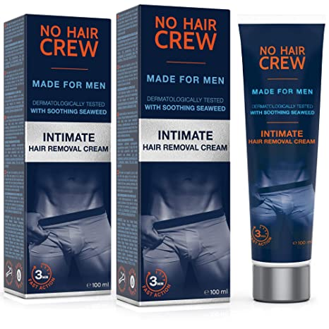 2 x NO HAIR CREW Crema Depilatoria Íntima Premium - Extra Suave Hecha Para Hombres -