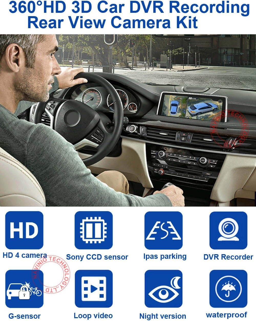 Panorama System Car DVR 3D Cam/éra de recul /à 360/° pour Jeep Wrangler Rubicon//Sahara Unlimited Sahara /à partir de 2012