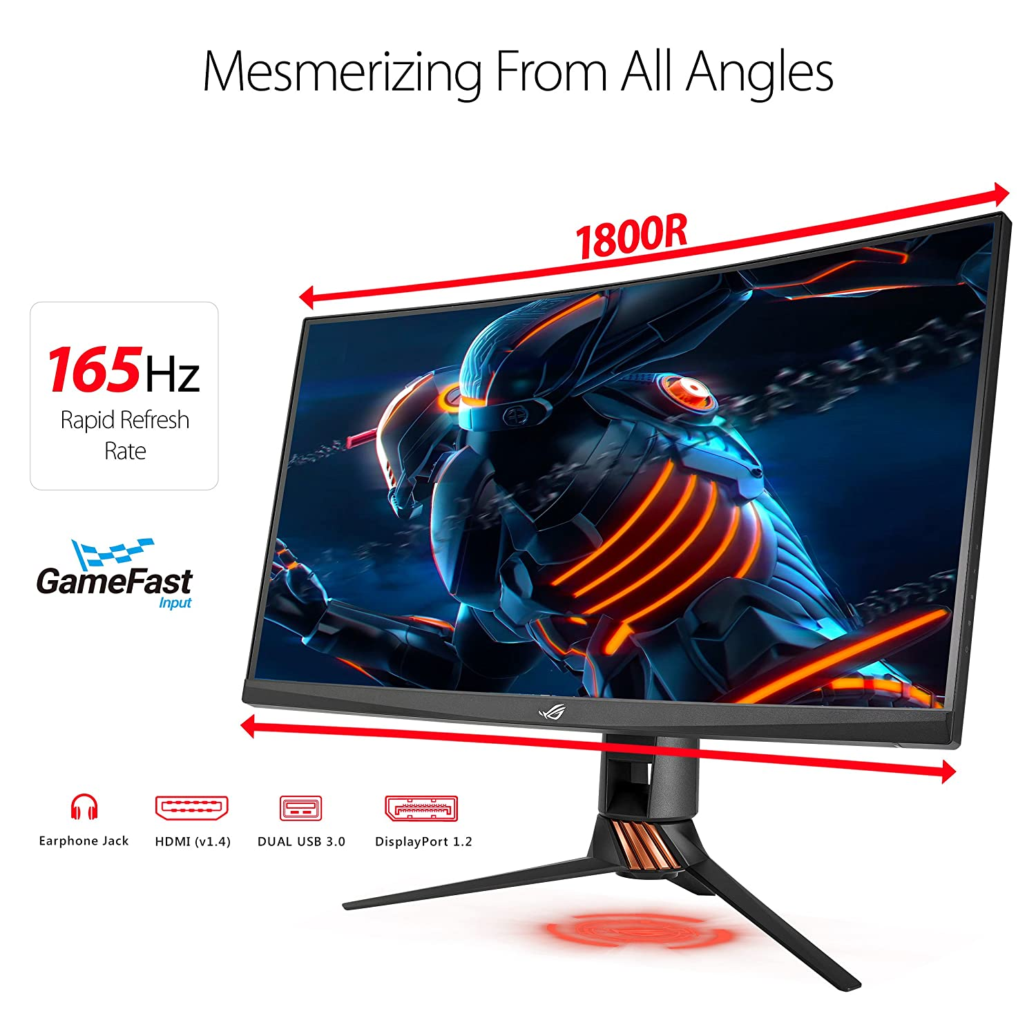 "Amazon ASUS ROG Swift PG27VQ 27"" 1440p 1ms 165Hz DP HDMI G SYNC Aura Sync Curved Gaming Monitor with Eye Care puters & Accessories"