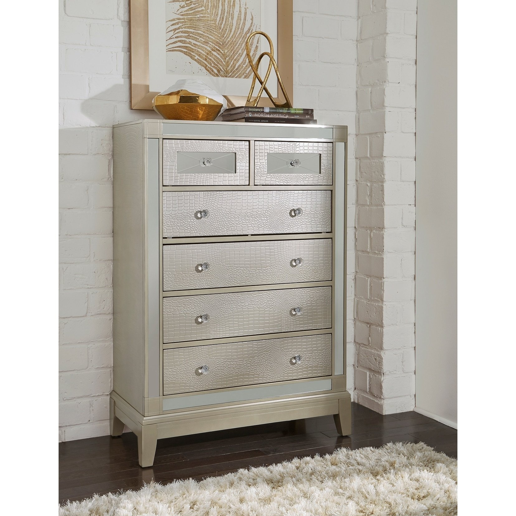 Textured Champagne Mirror Chest, Mirrored Accents, Ample Storage Drawers, Bundle with Ebook for Home Furnitures