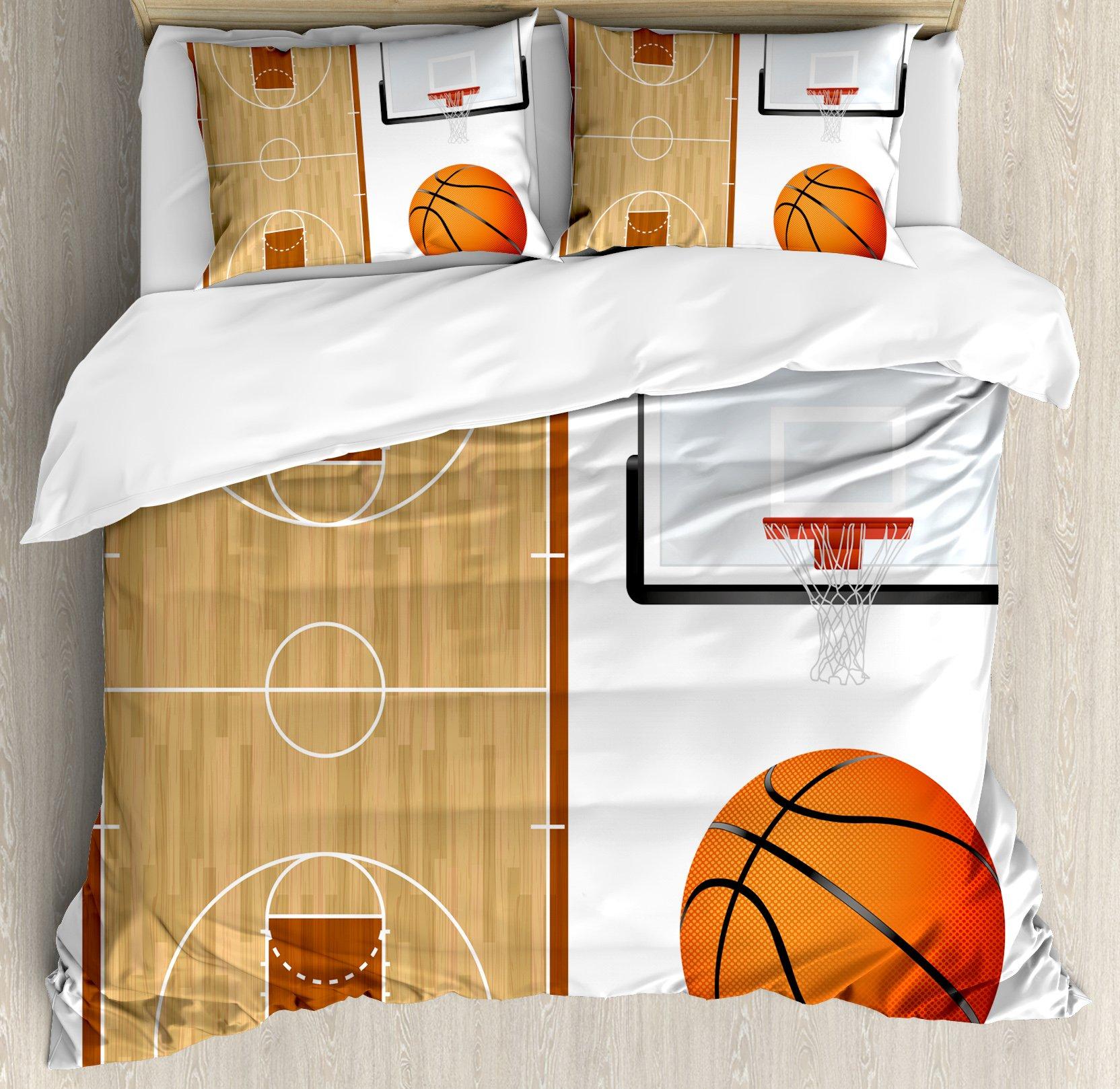 Lunarable Boy's Room Duvet Cover Set Queen Size, Basketball Court Backboard Illustration Realistic Sports Themed, Decorative 3 Piece Bedding Set with 2 Pillow Shams, Pale Brown Orange Black