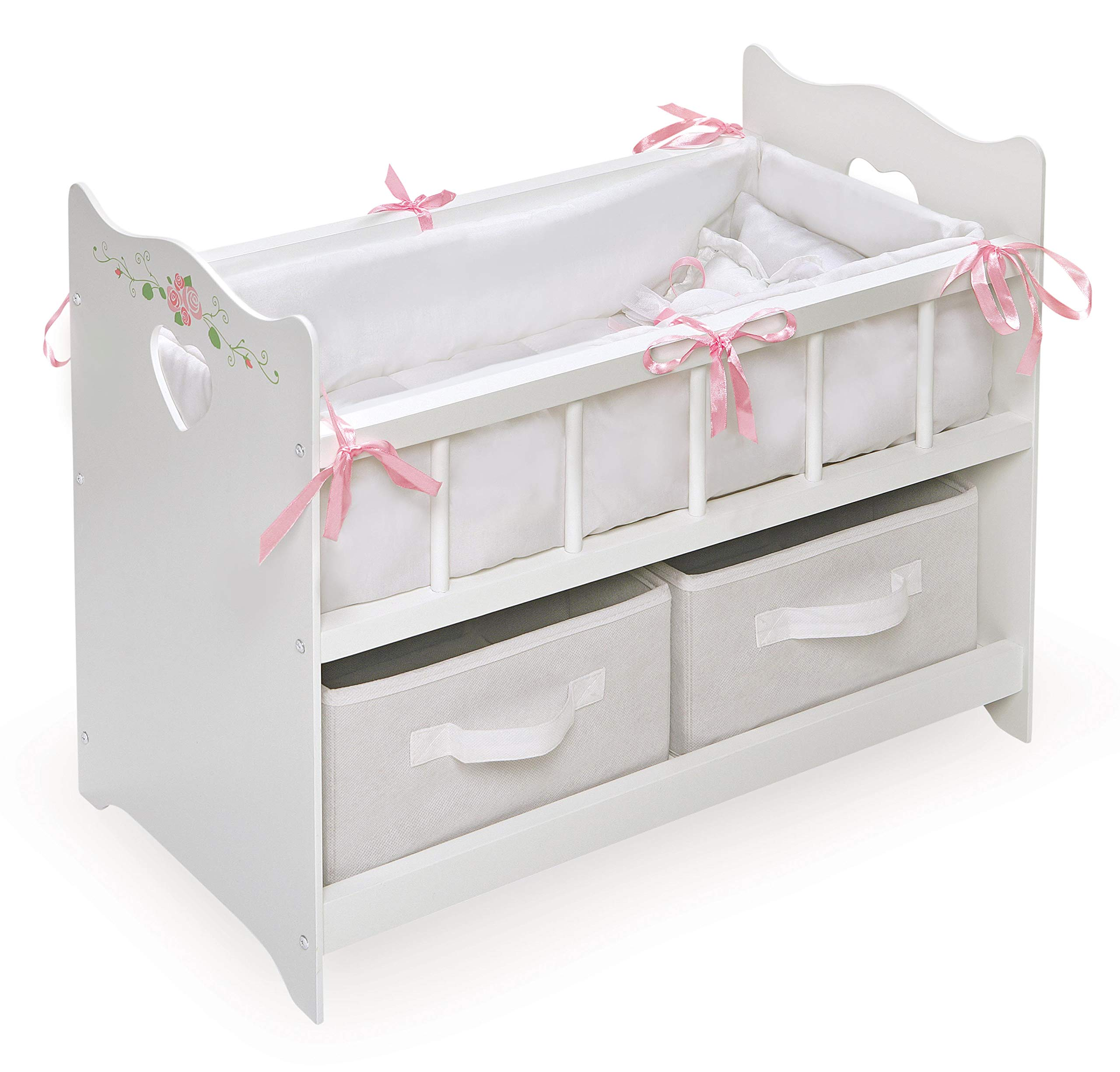White Rose Doll Crib with Bedding, 2 Baskets, and Free Personalization Kit (fits American Girl Dolls) by Badger Basket