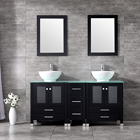 BATHJOY Black Double Wood Bathroom Vanity Cabinet And White - Round bathroom vanity cabinets