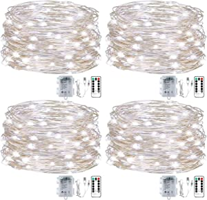 4Pcs Fairy String Lights 16.5Ft 50 Led USB or Battery Operated String Lights with Remote Control Timer for Bedroom Home Wedding Indoor Outdoor Decor, Waterproof, Cool White