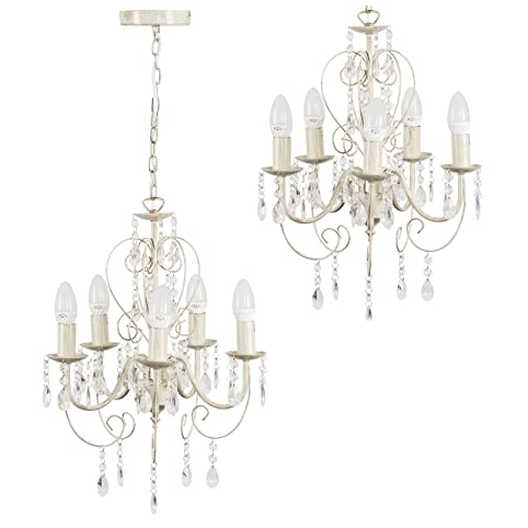 Traditional cream ornate vintage style shabby chic 5 way ceiling traditional cream ornate vintage style shabby chic 5 way ceiling light chandelier with beautiful acrylic jewels mozeypictures Gallery
