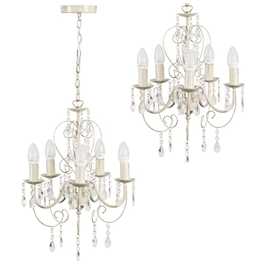 Traditional cream ornate vintage style shabby chic 5 way ceiling traditional cream ornate vintage style shabby chic 5 way ceiling light chandelier with beautiful acrylic jewels aloadofball Image collections
