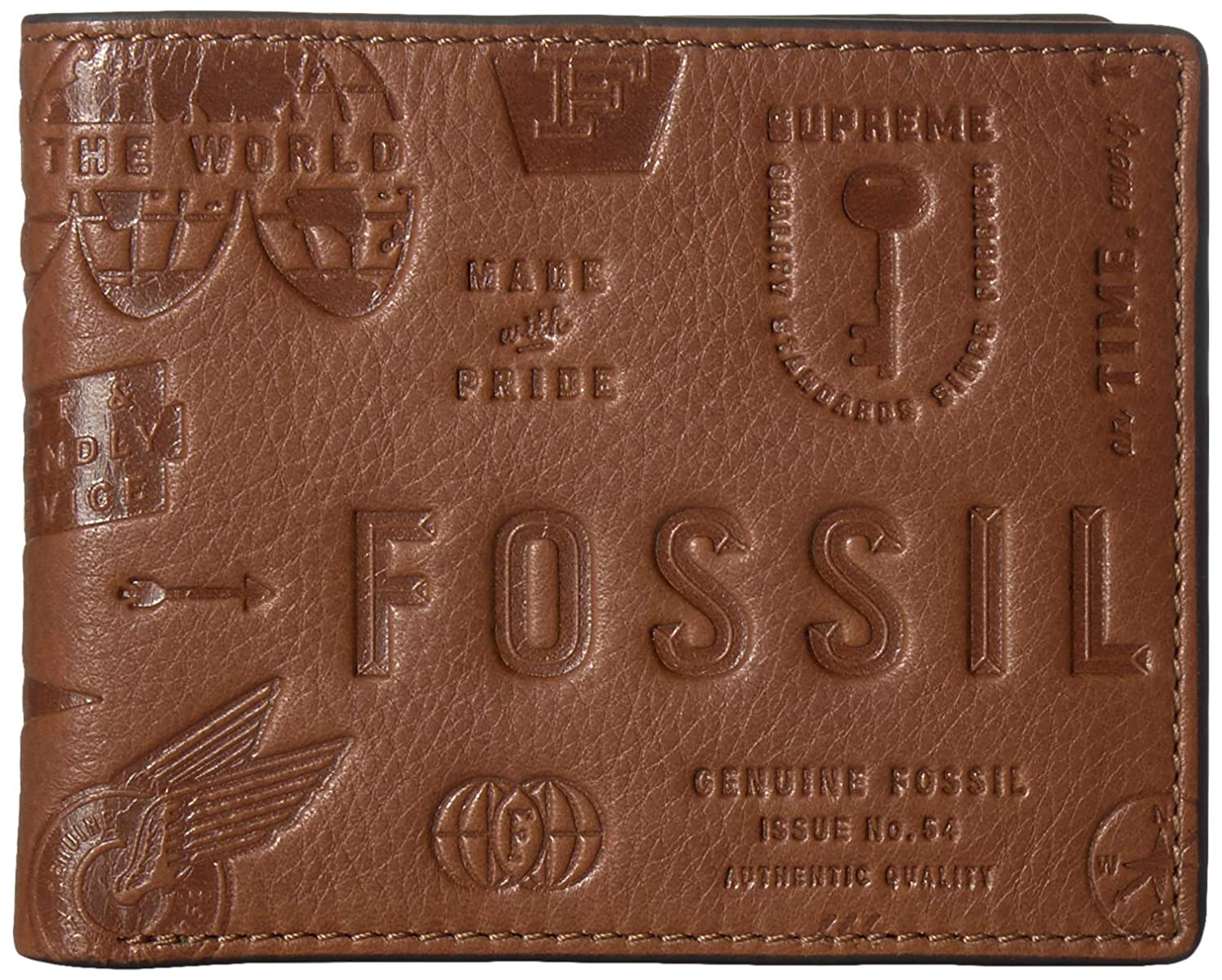 Fossil Mens Fred Leather Bifold Flip ID Wallet