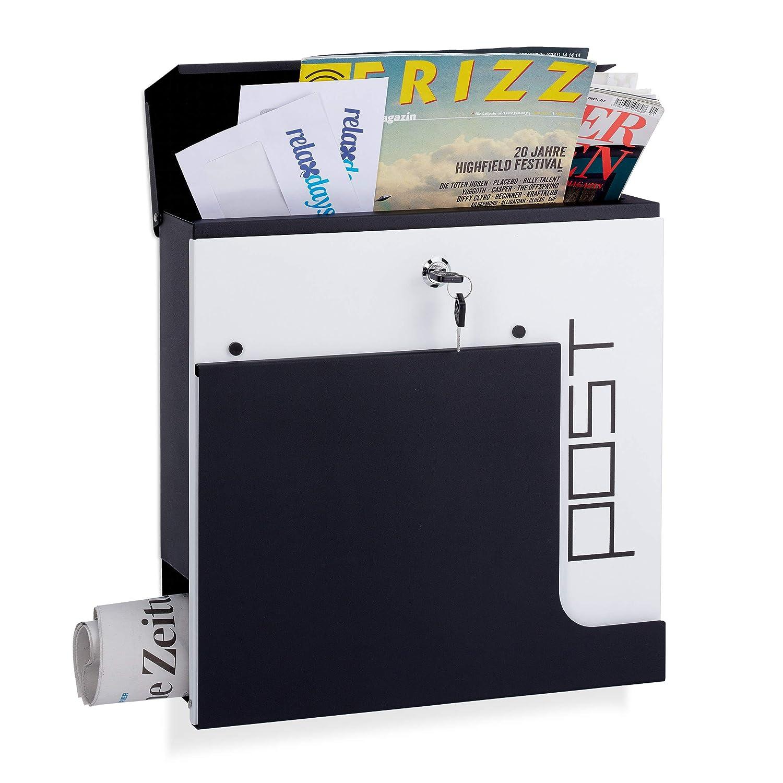 37 x 37 x 11 cm Relaxdays Buz/ón de Dise/ño con Cerradura y Compartimento para Peri/ódicos Negro Acero