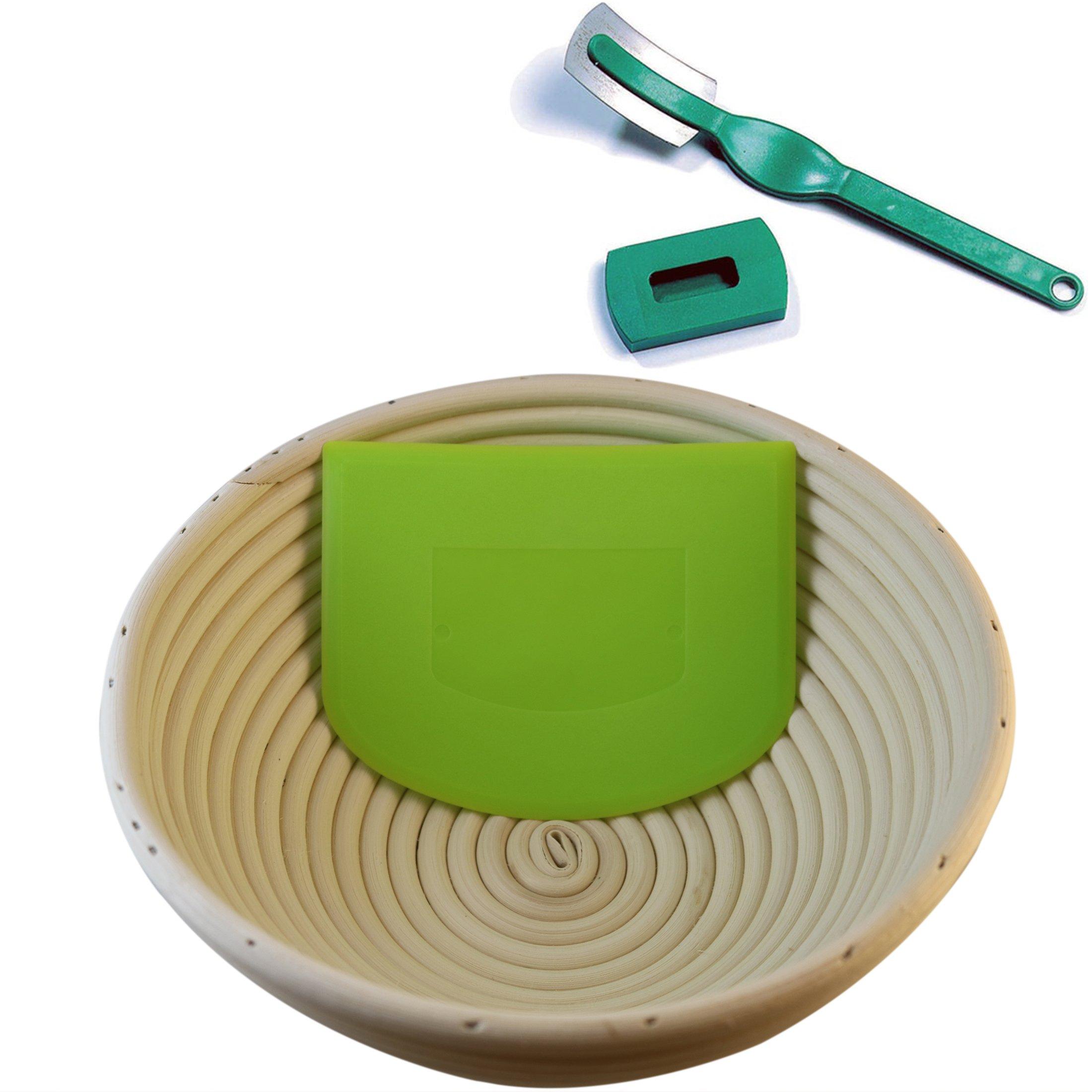 Banneton Proofing Basket 8'' | Natural Elasticated Linen Banneton Liner | Ergonomical Designed Dough Scraper | Dough Scoring Lame | Charles Good Food by Charles Good Food