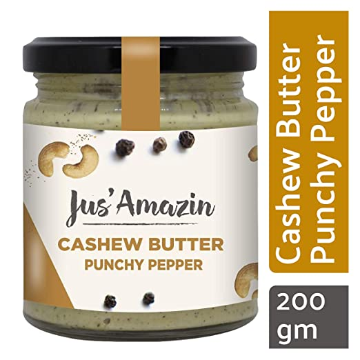 JUS' AMAZIN High Protein, Vegan, Cholesterol-free, Dairy-free, Soy-free, Gluten-free, Natural, Plant-Based Punchy Pepper Cashew Butter (200 g)