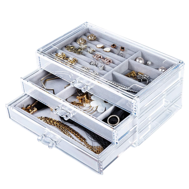 Yoelrsa Acrylic Jewelry Box, Velvet Jewellery Storage Organizer with 3 Drawers, Earring, Rings, Necklaces, Bracelets Vanity Display Case, Makeup Showcase Gift for Woman (Grey) by Yoelrsa