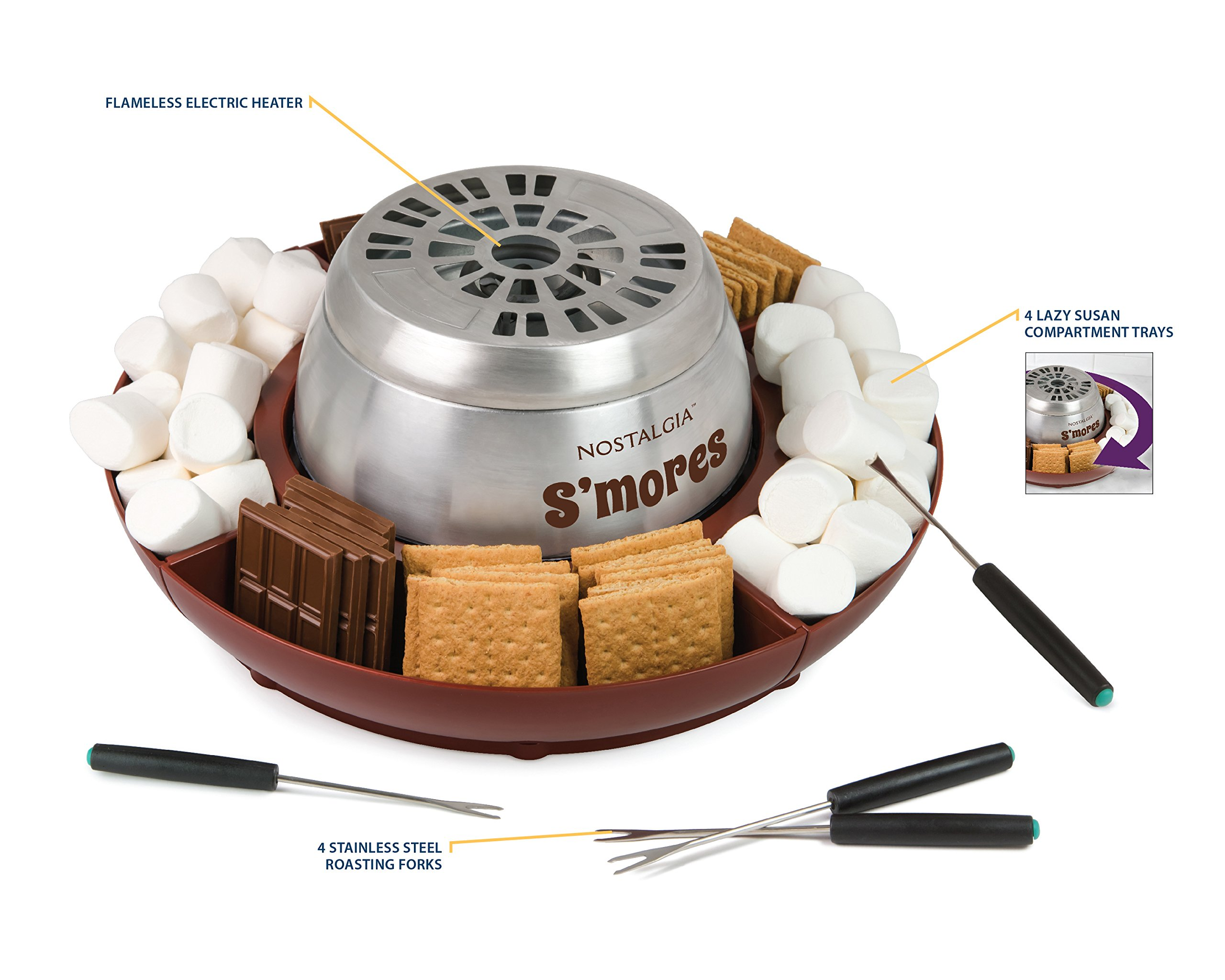 Nostalgia LSM400 Lazy Susan Electric Stainless Steel S'Mores Maker by Nostalgia (Image #5)