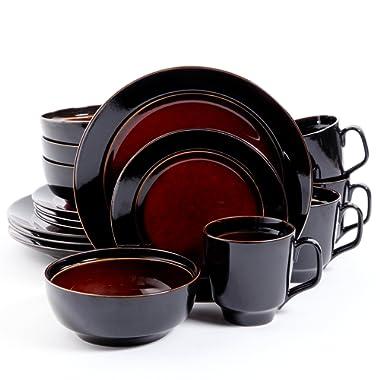 Gibson Overseas, Inc. Gibson Home 101788.16RM Bella Galleria 16-Piece Reactive Glaze Dinnerware Set Service of 4, Stoneware, Red/Black,