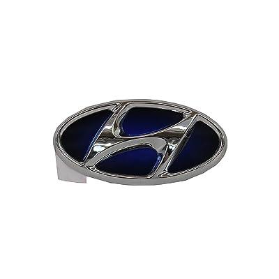 Genuine Hyundai Sonata 86300 4R000 Hybrid Chrome/Blue Front Emblem: Automotive