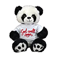 Limited Edition! Pre-Customized GET Well Soon! Cute , Plush Pillow, Plush Animal Best Plush Toy for Visits,Hospital Sick Present (Panda)