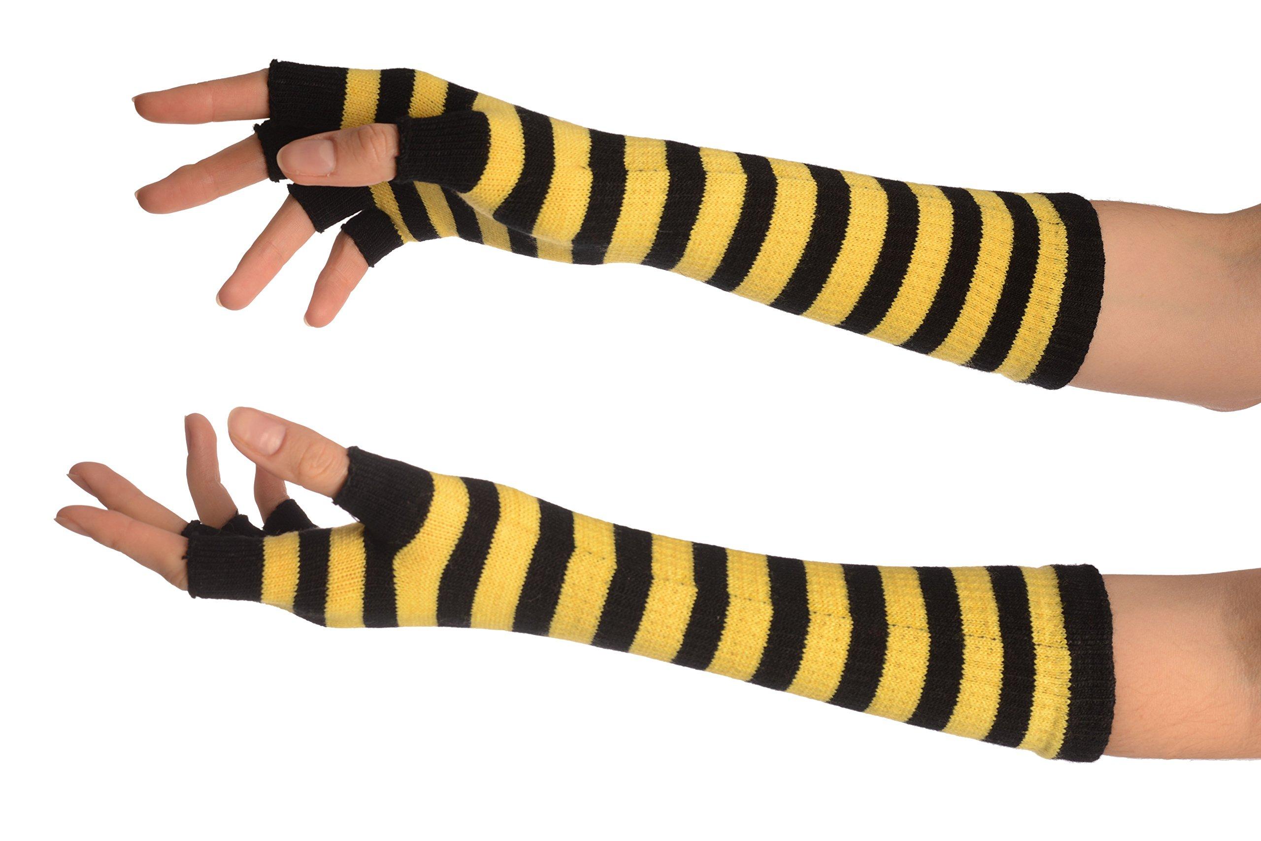 Yellow & Black Stripes Fingerless Gloves - Gloves