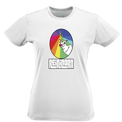 Reinicorn Arcobaleno Unicorn slogan stampato Citazione Design Premium T-Shirt Da Donna