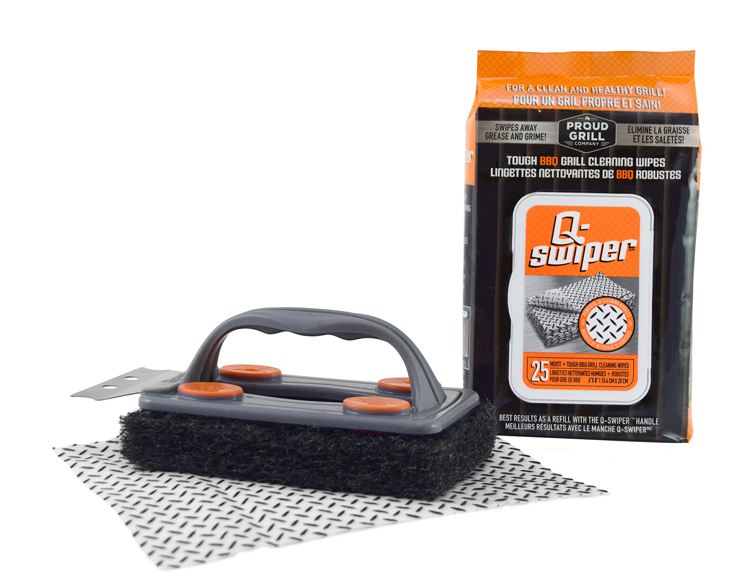 Q-Swiper BBQ Grill Brush Cleaner Set - 1 Grill Brush with Scraper and 25 BBQ Grill Cleaning Wipes. Bristle Free & Wire Free. Safe Way to Remove Grease and Grime for A Clean and Healthy Grill!