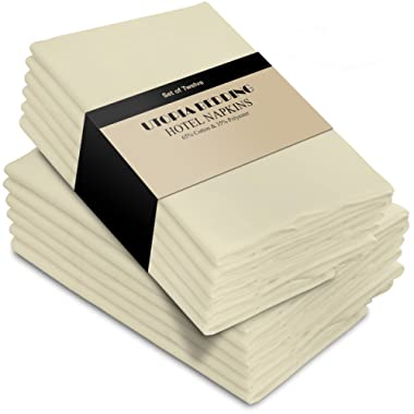 Utopia Bedding Cotton Dinner Napkins - Ivory - 12 Pack (18 inches x 18 inches) - Soft and Comfortable - Durable Hotel Quality - Ideal for Events and Regular Home Use