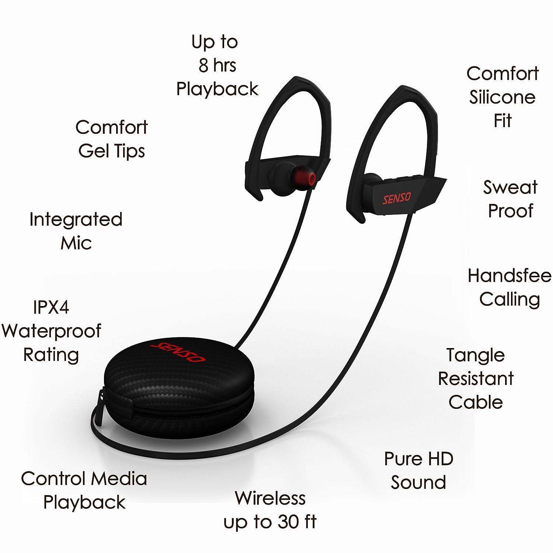 3f3d0e04079 Senso Stealth Bluetooth Headphones, Wireless Earphones: Amazon.co.uk:  Electronics