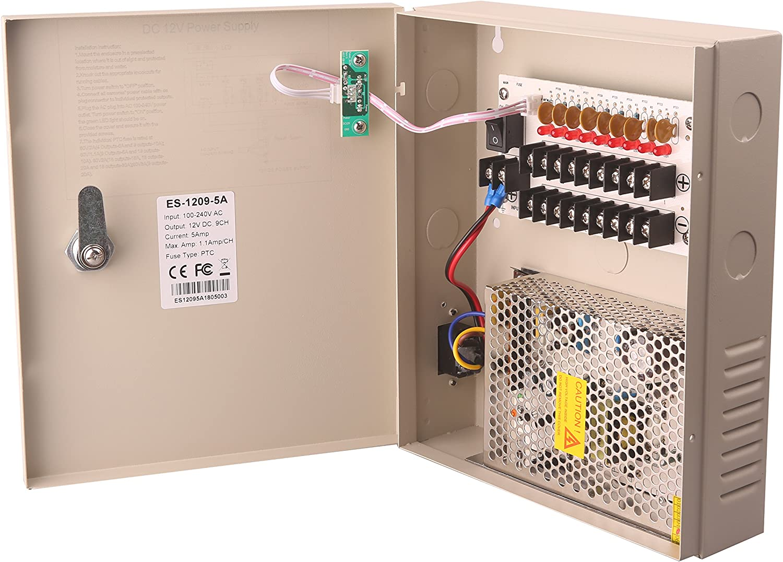 9-18 Way CCTV Security Camera DC Power Supply Metal Box Lockable Key