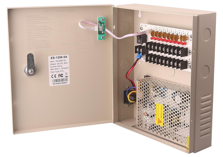 amazon com 9 channel dc12v 5 amp ptc fuse cctv power supply withamazon com 9 channel dc12v 5 amp ptc fuse cctv power supply with metal box, ac plug and lock for security cameras, dvrs, ip cameras, cctv cameras