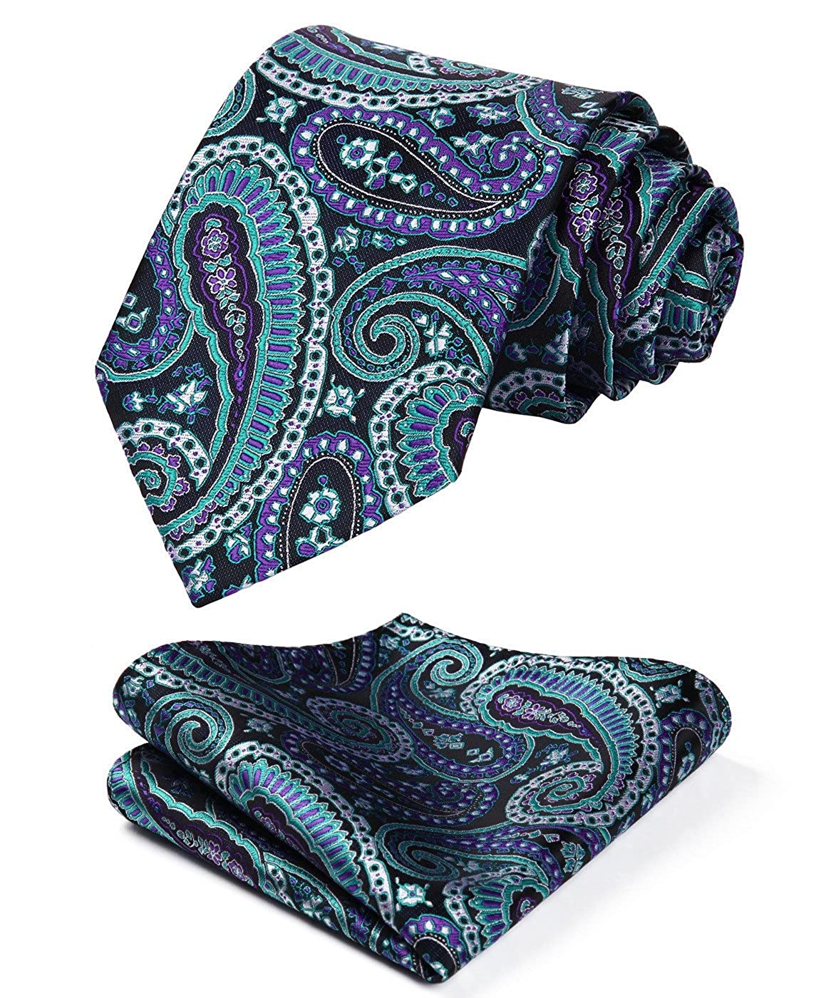 HISDERN Men's Paisley Floral Wedding Silk Neck Tie and Pocket Square Set TP936B8S-4