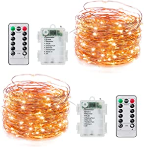 2 Pack Fairy Lights Battery Operated, 20Ft 60LED Firefly String Lights with Remote & Timer, 8 Lighting Modes Waterproof Copper Wire Twinkle Lights for Crafts Bedroom Garden Party Christmas, Warm White