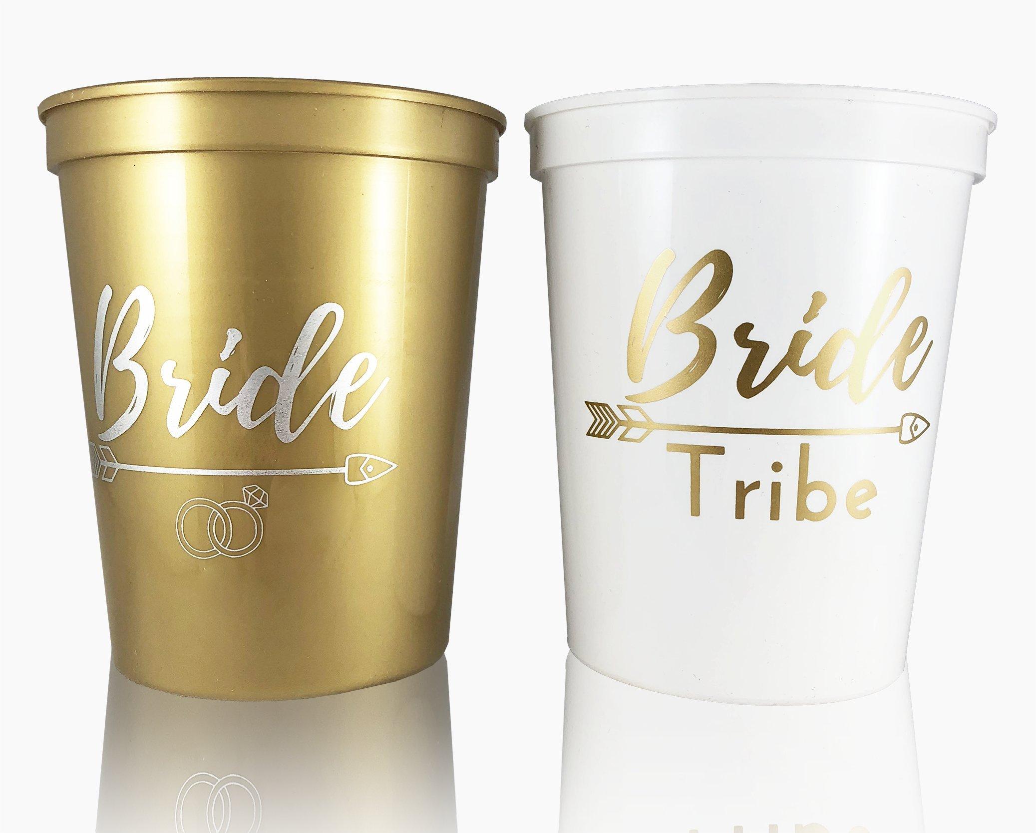 #glamist Bride Tribe Cups - White & Gold 16 oz Plastic Cup Set for Weddings, Bridal Showers, Engagement & Bachelorette Parties …