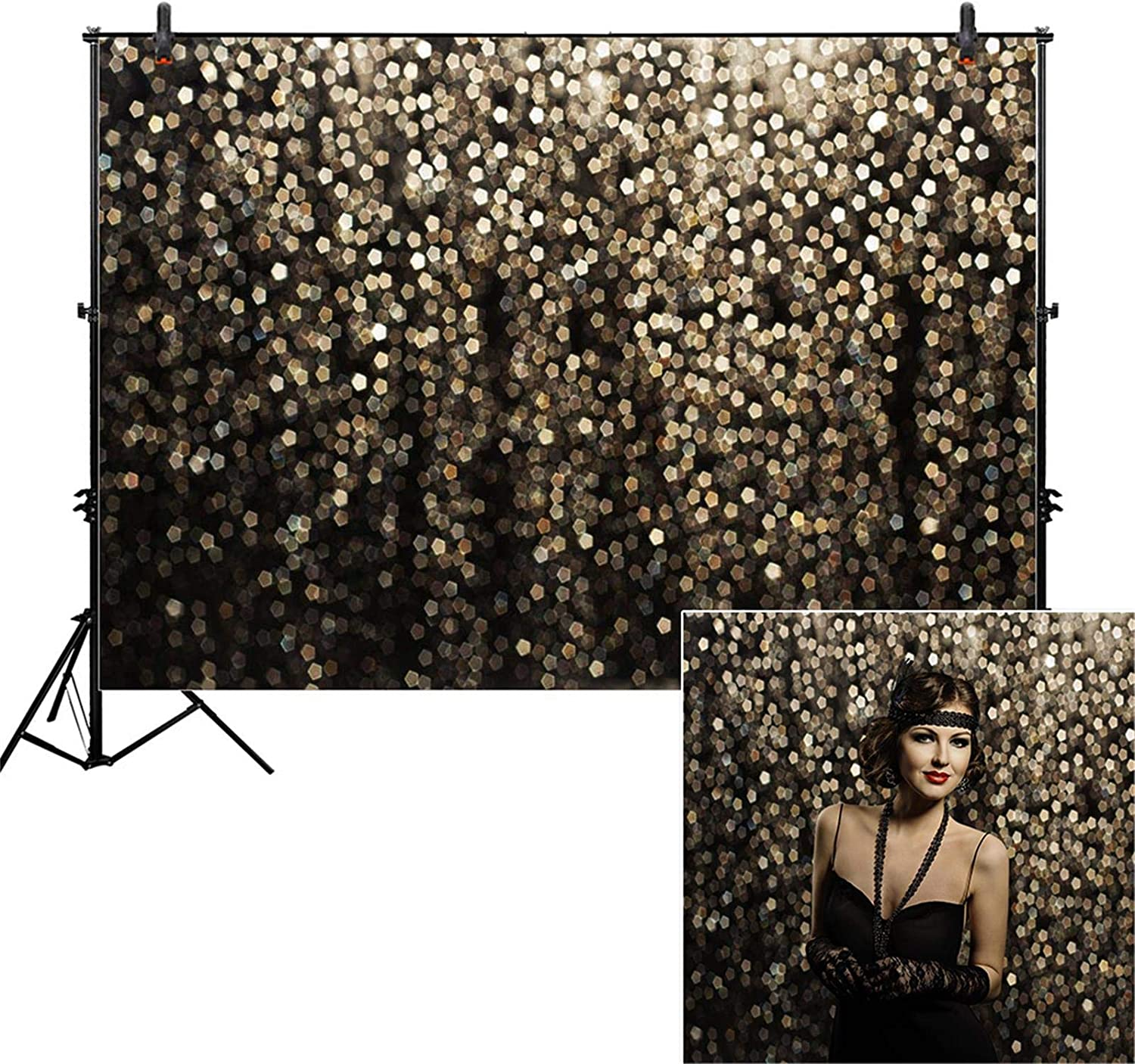 Allenjoy 7x5ft Gold Bokeh Spots Backdrop for Selfie Birthday Party Pictures Photo Booth Shoot Graduation Prom Dance Decor Wedding Vintage Astract Dot (No Glitter) Studio Props Photography Background