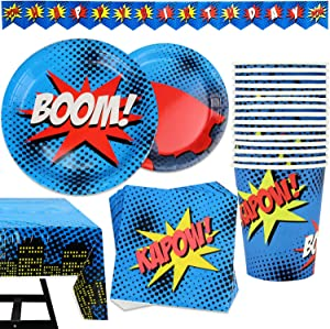 82 Piece Superhero Party Supplies Set Including Banner, Plates, Cups, Napkins, and Tablecloth, Serves 20