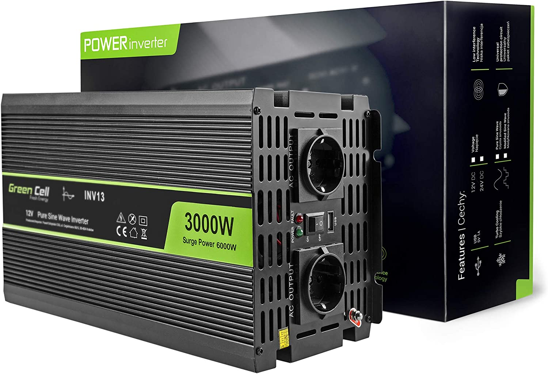 Green Cell 3000w 6000w Reiner Sinus Spannungswandler Wechselrichter 12v Auf 230v Konverter Pure Sine Power Inverter Für Auto Mit Usb Ladeanschluss Und Direktanschluss An Autobatterie Auto