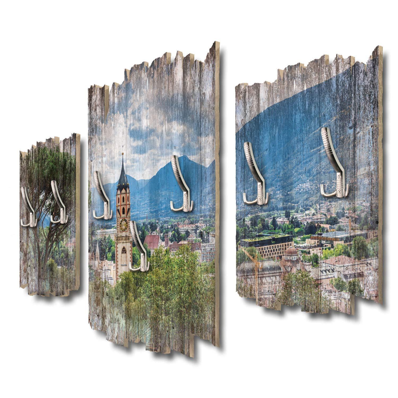 Kreative Feder Meran Stadtpanorama Designer Wandgarderobe Flurgarderobe Wandpaneele 95 x 60 cm aus MDF DTGH077