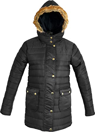 Women/'s Puffer Winter Parka Fur Ladies Quilted Padded Hooded Jacket Coat Thick