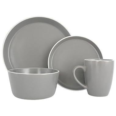 Melange Stoneware 32-Piece Dinnerware Set (Moderno Grey)   Service for 8  Microwave, Dishwasher & Oven Safe   Dinner Plate, Salad Plate, Soup Bowl & Mug (8 Each)