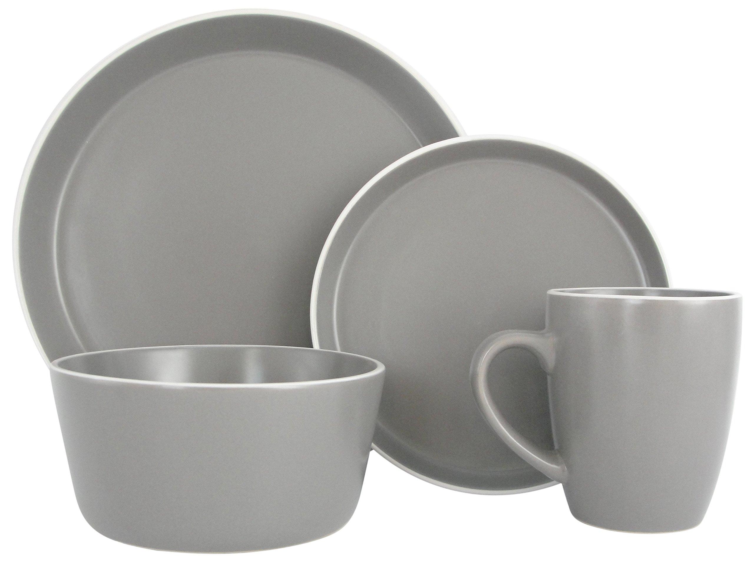 Melange Stoneware 32-Piece Dinnerware Set (Moderno Grey) | Service for 8| Microwave, Dishwasher & Oven Safe | Dinner Plate, Salad Plate, Soup Bowl & Mug (8 Each)