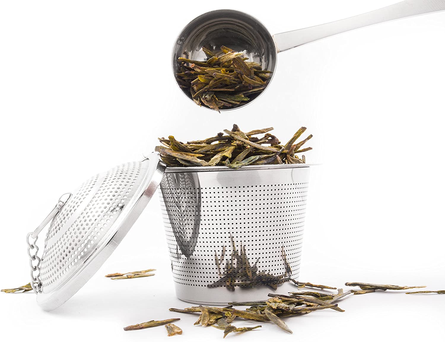 2 Pack Ultra Fine Loose Leaf Tea Ball Infuser Strainer Steeper, Including Tea Scoop, Drip Trays, Long Chain Handle for Easy Brewing All Fine Teas, Spices and Seasonings