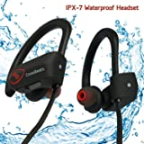CrossBeats™ Wave Wireless Bluetooth Earphones Headset Headphones -IPX7 Waterproof -Premium Sound with Bass, Noise Cancelling, Secure Fit Bluetooth V4.1, 8 Hrs Playtime | Built-in-Mic | Strong Bass| Ergonomic-Designed Ear Hooks | Soft Silicone Surface