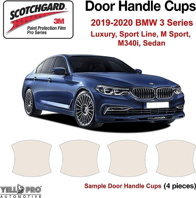 YelloPro Custom Fit Door Handle Cup 3M Scotchgard Anti Scratch Clear Bra Paint Protector Film Cover Self Healing PPF Guard Kit for 2019 2020 BMW 3 Series Luxury Sport Line M Sport M340i Sedan