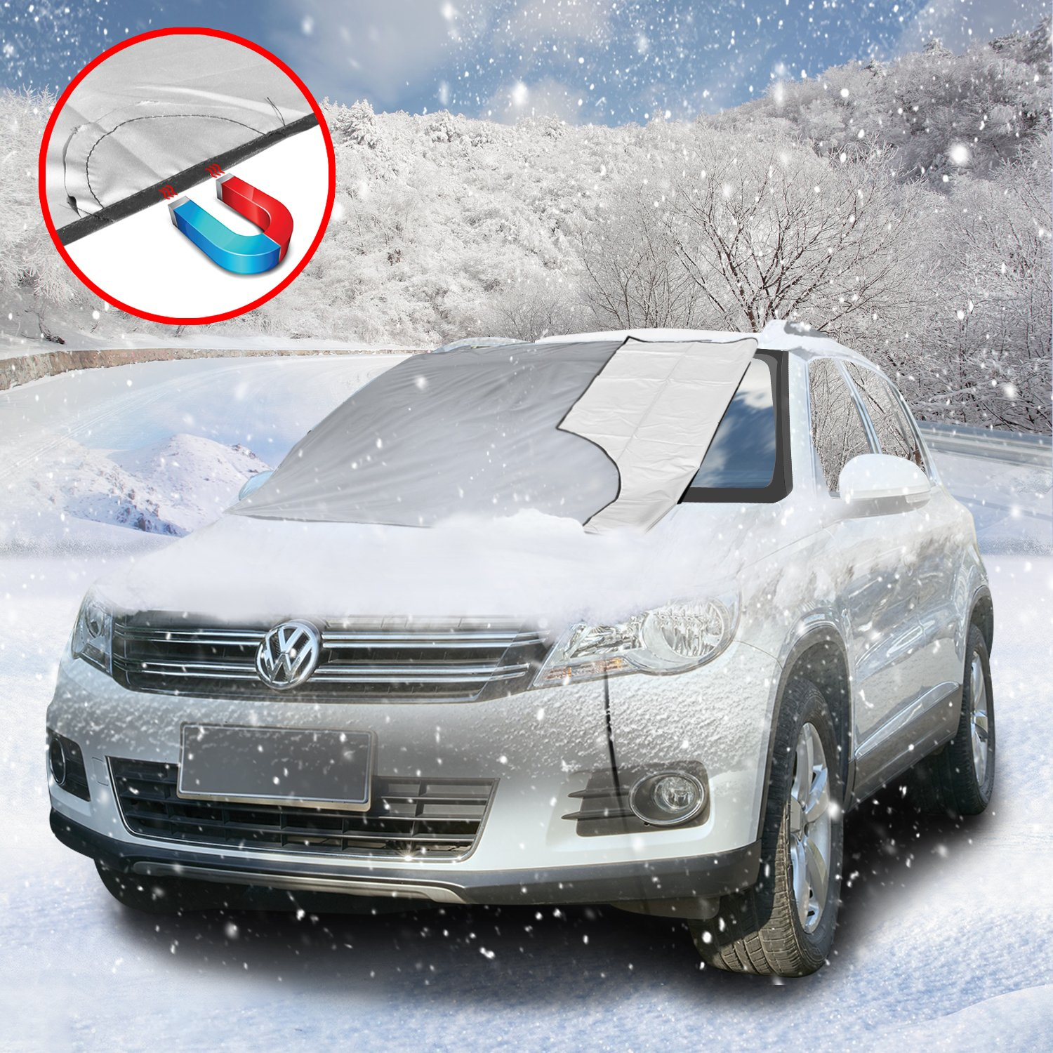 SCM Frost Windshield Cover, Ice and Frost Guard Fits SUV, Truck & Car Windshields, Magnetic Snow Multi-used as Outdoors Picnic Mats (Magnetic; 215 * 125 cm)